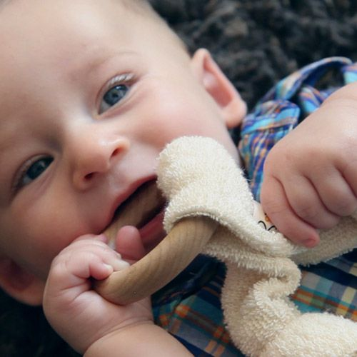 Untreated maple wood teethers with terry cloth attachment. So soothing…