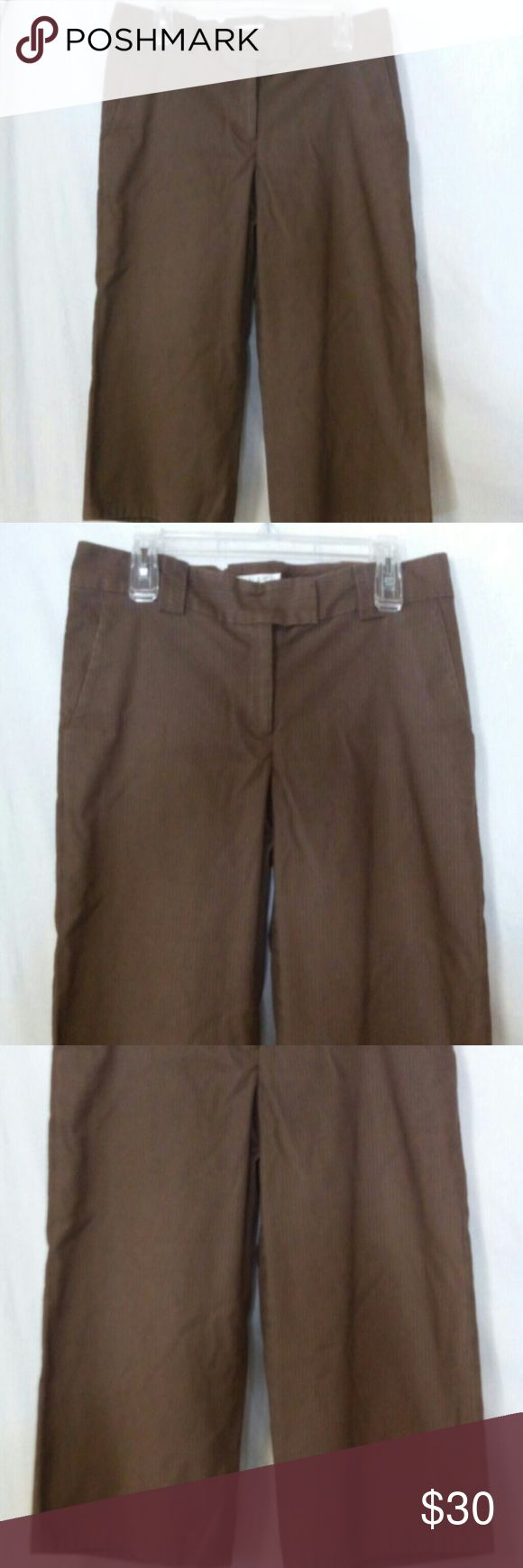 """Wyeth by Todd Magill women's size 10 Bermuda short Barely worn, Brown pin stripe, zipper with a metal closure and anchor button, two front pockets and two back flap faux pockets, polyester and spandex, dry clean, waist 35"""", front rise 7 1/2"""", inseam 16"""" Wyeth Shorts Bermudas"""