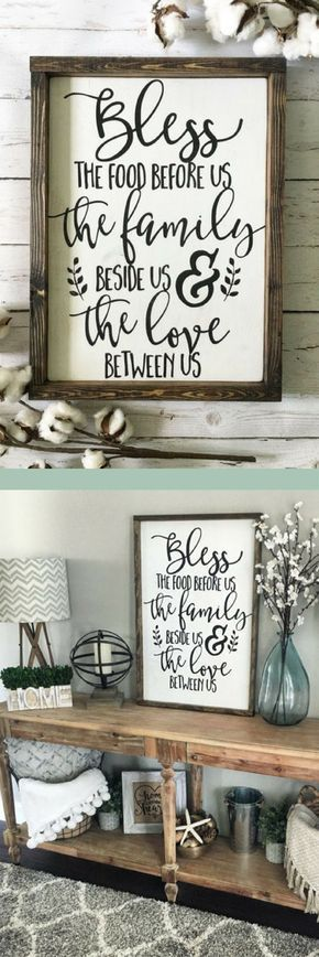 Bless the Food Before Us Wood Sign, Rustic Wood Sign, Framed Sign, Kitchen Sign, Dining Room Sign, Farmhouse Decor, Kitchen Decor #affiliatelink