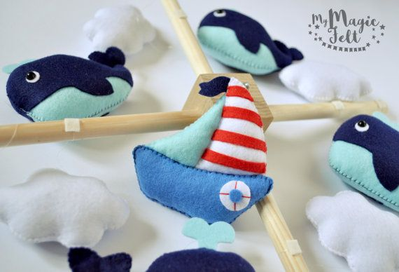 Baby mobile Whale crib mobile Nautical baby mobile by MyMagicFelt