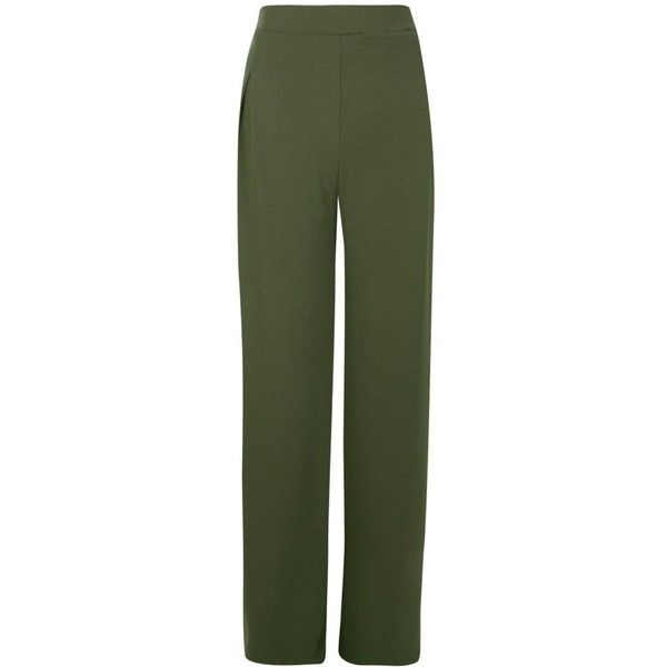 Boohoo Tall Emma Wide Leg Pleat Front Trouser | Boohoo ($26) ❤ liked on Polyvore featuring pants, sports trousers, green wide leg pants, wide-leg pants, sport pants and sports pants