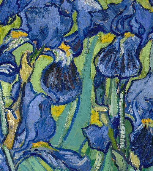 Detail of Irises, Vincent van Gogh, 1889. Oil on canvas. Collection of the J. Paul Getty Museum.