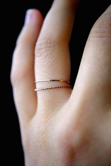 14K Rose Gold fill Twist stacking rings, rose gold stack ring, stacking ring, twist ring, rose gold ring, rope ring, set of 2 thin rings