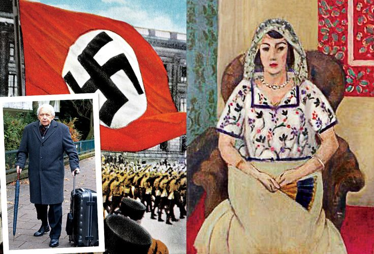 GONE BUT NOT FORGOTTEN Left, Cornelius Gurlitt; A Nazi rally, circa 1933; Matisse's Seated Woman, one of 1,280 works of art discovered in the Munich apartment of 81-year-old., Photographs: left, from universal history archive/UIG/Getty Images; right, from Lost Art Koordinierungsstelle Magdeburg/Getty Images; inset © Markus Hannich/BILD-Zeitung.