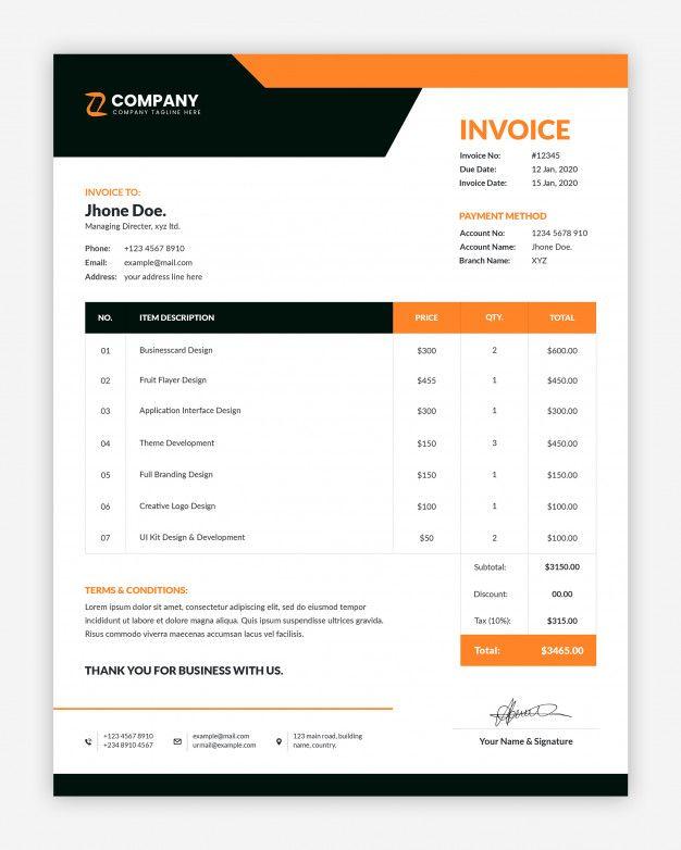 Minimal Corporate Invoice Template Invoice Design Template Quote Template Design Invoice Template