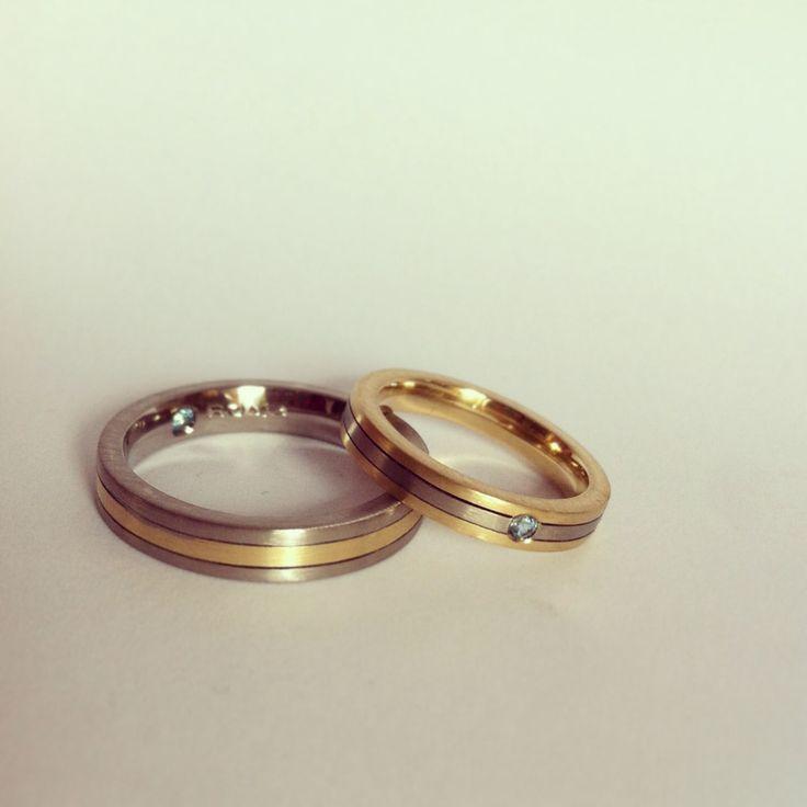 Argollas de matrimonio Au Bl 18K + Au Am 18K + Topacio Azul www.tesoromio.cl