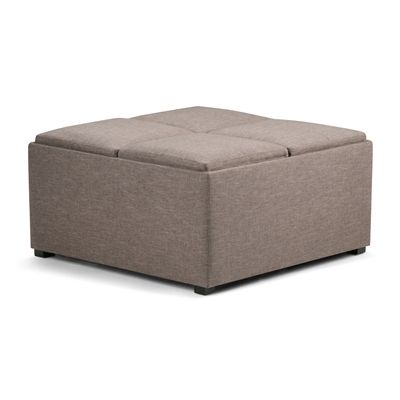 Simpli Home AY-F-07 Avalon Fabric Coffee Table Storage Ottoman with 4 Serving Trays