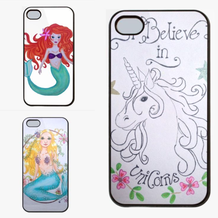 Cute mermaid, Little mermaid and unicorn phone cases! Your phone needs one of these cases! And there are matching totebags and cards available too! Visit Lumisadesign for more!