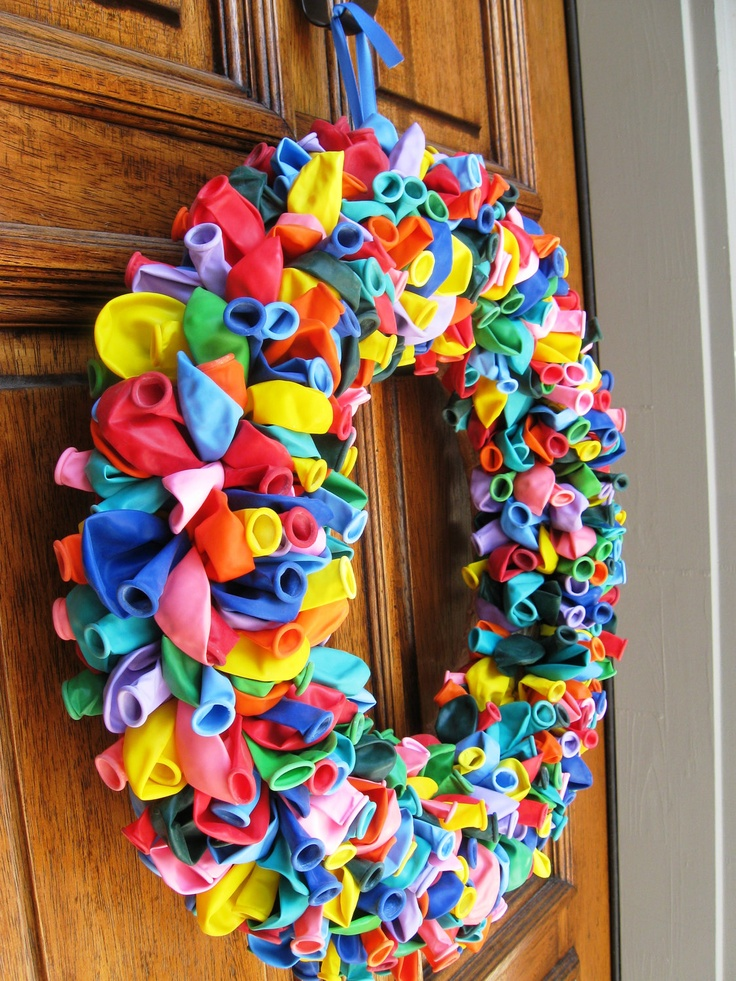 Rainbow Birthday Balloon Wreath.