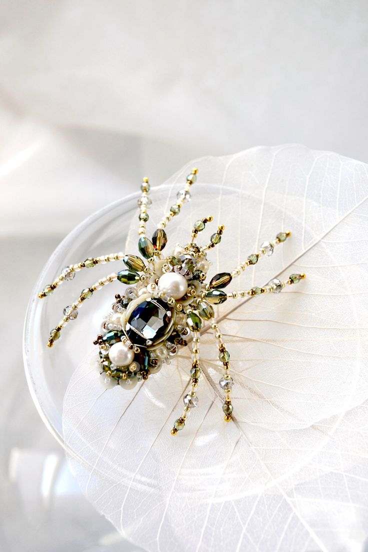 Beautiful spider jewelry, ooak spider brooch unique designer jewelry perfect gift for Spider Lover, nature inspired pearl green Spider gift by PurePearlBoutique on Etsy https://www.etsy.com/listing/226720498/beautiful-spider-jewelry-ooak-spider