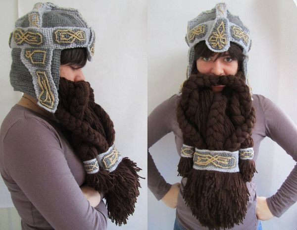 Lord of The Rings Crochet Dwarven Beard Helmet. This is hilarious and awesome!