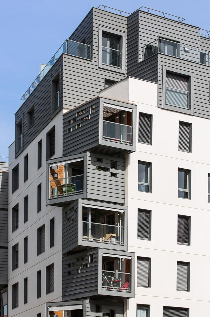 An modern urban infill project in Issy-les-Moulineaux, France. The exterior