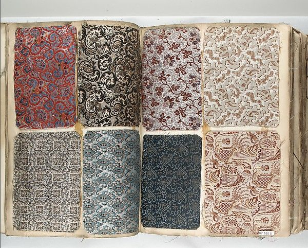 Textile Sample Book Date: 1846 Culture: French, Lyons Dimensions: H. 13 1/8 x W. 9 7/8 inches 33.3 x 25.1 cm Th. 5 inches 12.7 cm Classification: Textiles-Sample Books Credit Line: Gift of the Estate of Benjamin E. Marks, 1967 Accession Number: 67.180.5