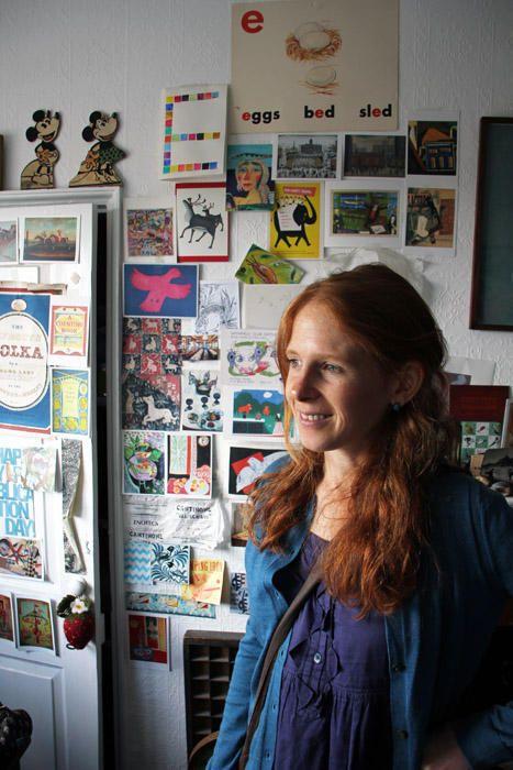 The artist Emily Sutton in her studio in York