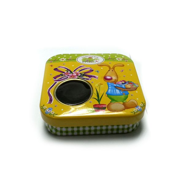 small square candy tin box with window