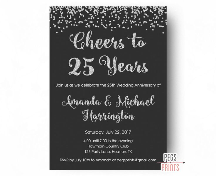 Best 25 Wedding anniversary invitations ideas – 25th Anniversary Party Invitations