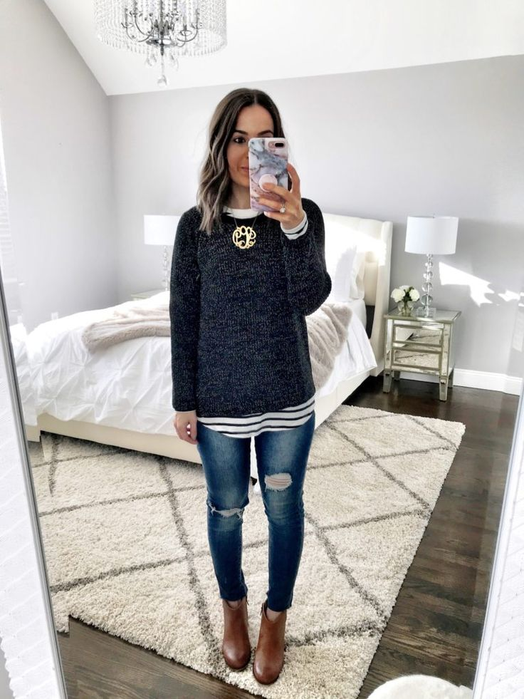 Winter layers | Chenille sweater, stripe top, ripped jeans, & brown booties