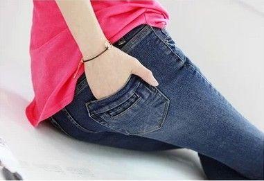 Новый 2015 весенняя Мода плюс размер 26-34 джинсы женские эластичные тонкие джинсовые брюки карандаш 3 цвета женщины одежда S68F