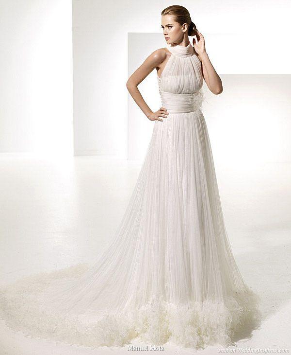 Gorgeous halter neck gown Teresa by designer Manuel Mota for Spanish bridal house Pronovias