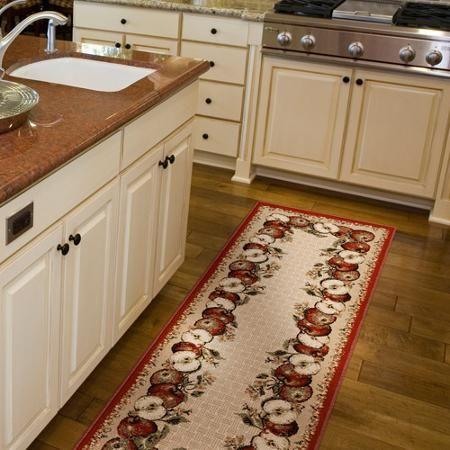 Orian apple border olefin runner rug 1 39 11 x 6 39 home for Kitchen area rugs runners