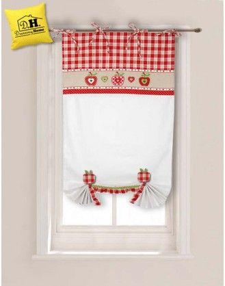 Tenda finestra con due embrasse Angelica Home & Country Collezione Mele 60 x 160 cm