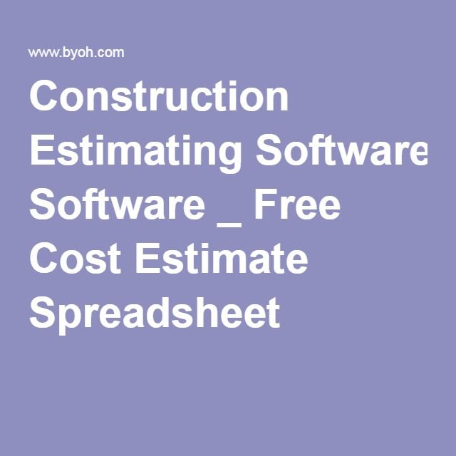 Construction Estimating Software _ Free Cost Estimate Spreadsheet