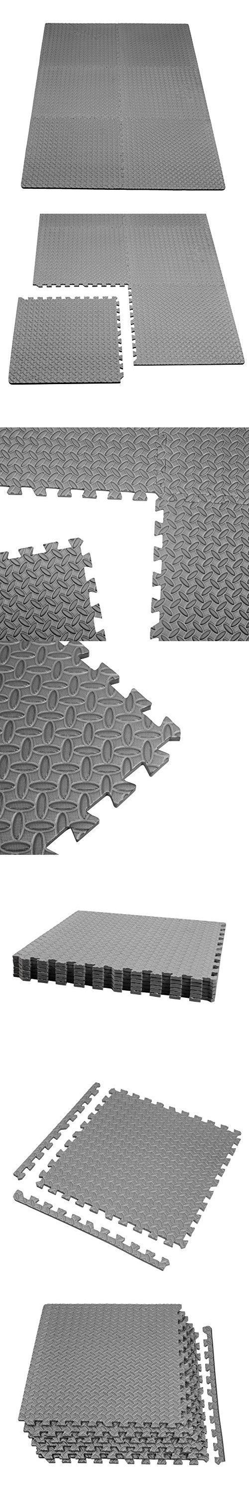 Rubber floor mats for basement - Gloue Puzzle Exercise Mat Eva Interlocking Floor Mat Set For 24 Square Anti Fatigue Exercise