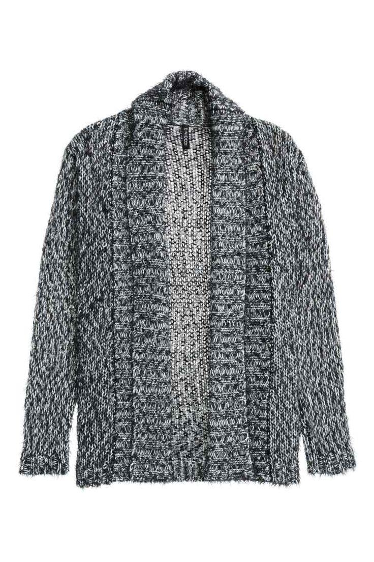 Knitted cardigan: Chunky-knit cardigan in soft, marled yarn with a ribbed shawl…