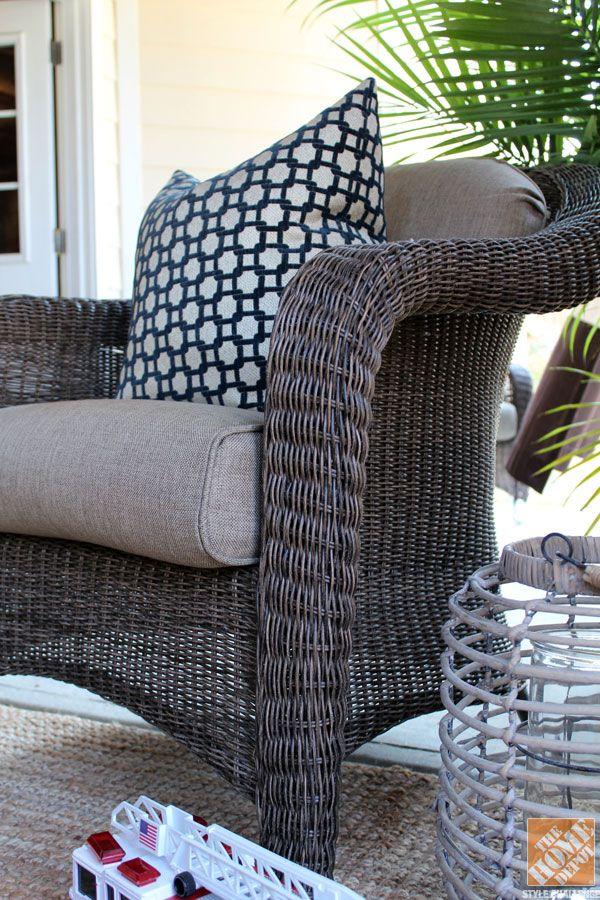 Under Deck Patio Decorating Ideas: A comfortable covered patio featuring wicker outdoor furniture by Hampton Bay