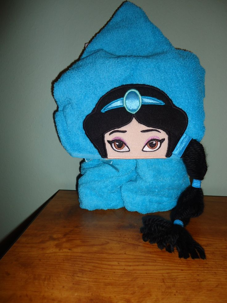 Arabian Princess Hooded Bath Towel with detachable braid. Turquoise Towel by Marshaslilcraftpatch on Etsy