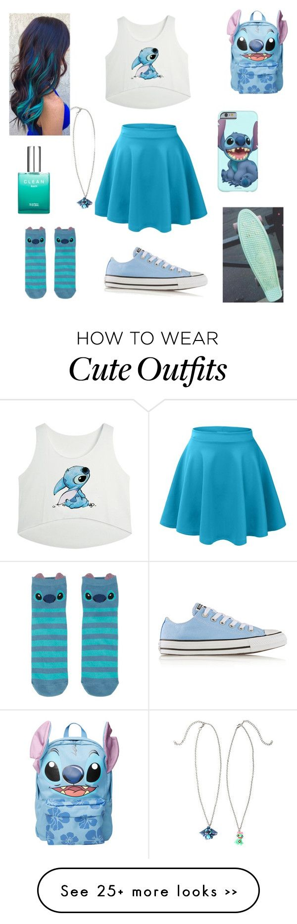 """Stitch Outfit"" by xxsondraxx on Polyvore featuring Converse, Disney and CLEAN"