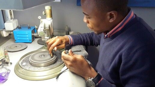Our Master Tanzanite cutter at work
