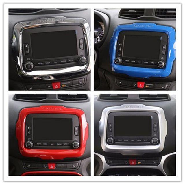 Car Styling Voiture Dash DVD Lecteur GPS Cadre Garniture Chrome décoration Anneau de Couverture Sortie ABS Pour Jeep Renegade Intérieure Accessoires ABS