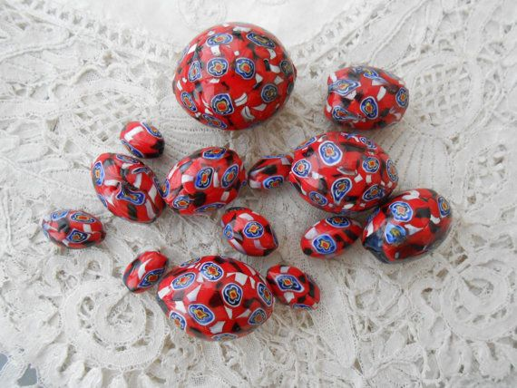 Antique millefiori glass beads x 14