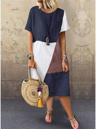 VERYVOGA Color-block Short Sleeves Shift Midi Casual Dresses