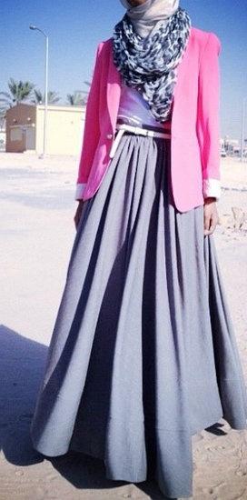 Pink Blazer + Long Maxi Skirt #Hijab Style.
