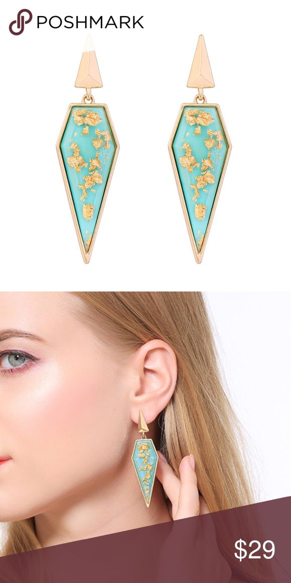Teal & Goldtone Flecked Statement Drop Earrings Embolden your look with the edgy-chic appeal of these pointed statement drop earrings, flecked with go...