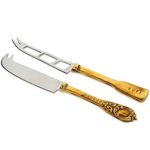 Culinary Concepts Versailles Traditional And Soft Cheese Knife Gift Set Two Tone