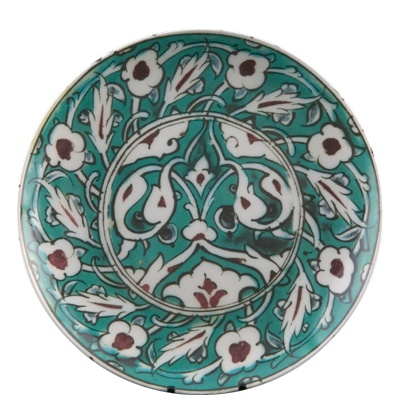 Code: 	42314  Name: 	Coupe Porcelain Plate (Turkey)  Material: 	Porcelain  Description: 	    8″ Coupe Plate with stand, Inspired from IAMM collection -Turkey C.1620 AD/1029 AH  Size: 	20.5 cm x 20.5 cm x 2 cm