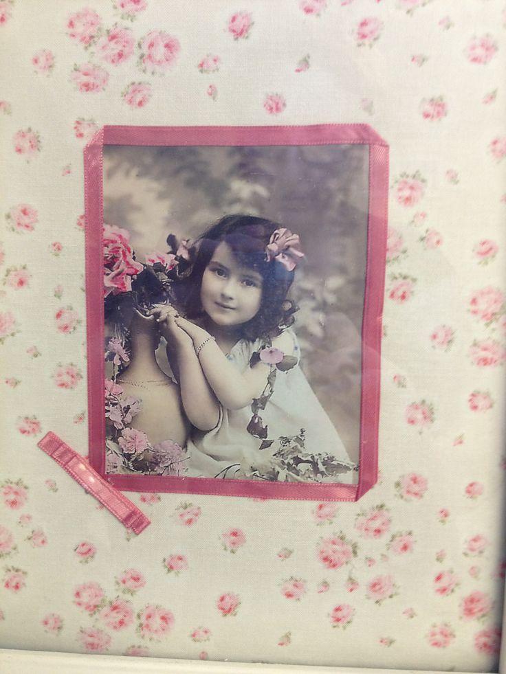 vintage photo framed - fabric decoupage