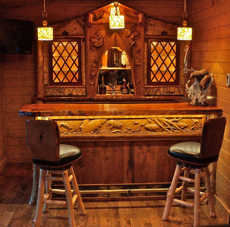 Rustic Bar And Back Bar Cabinetry