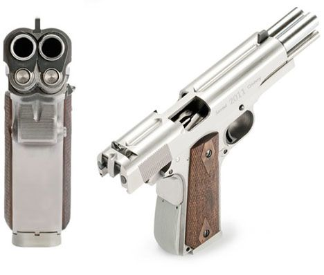 """The Gun so Nice, You Fire it Twice. Well, that better way is finally here! European gun manufacturer Arsenal Firearms has produced the AF2011-A1 Double Barrel Pistol, designed to """"commemorate the legendary Colt 1911-A1,"""" the .45 that turned 100 last year. """"I don't know what's more shocking: The fact that this was invented at all, or the fact that it wasn't invented in America."""""""