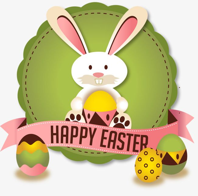 Vector Easter Bunny badge, Green, Rabbit, Easter PNG and Vector