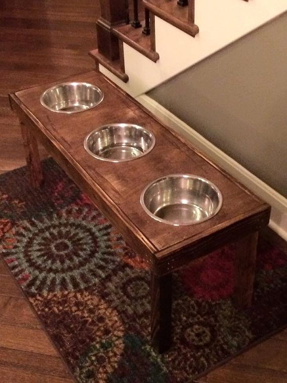 Raised dog bowl pallet wood furniture 12 X 36 X 12 by Lovemade14