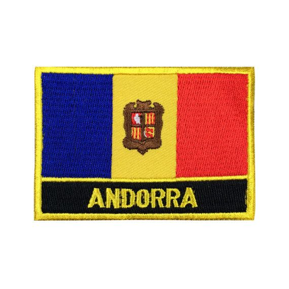 Andorra Flag Patch Embroidered Patch Gold Border Iron On patch Sew on Patch Bag Patch