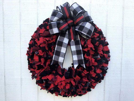 Red and Black plaid Rag wreath