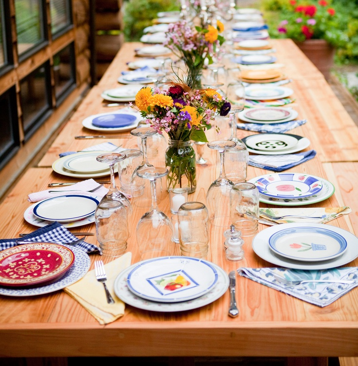 Colorful farmhouse is Seattle Farm Tables original line They have over 200 place settings including plates salad plates glasses and napkins. & 52 best Mismatched Plates images on Pinterest | Dish sets Vintage ...