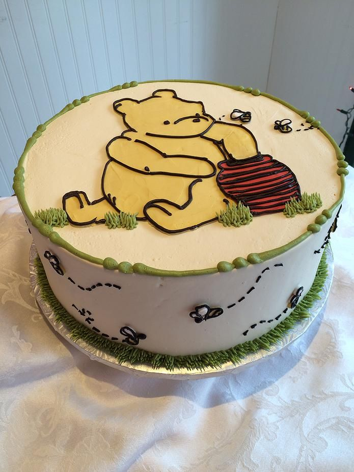 Winnie the Pooh and Honey Bee Cake- SweetPea Cakes, Bakery, Crystal Lake | BUTTERCREAM PARTY CAKES