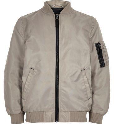River Island Boys stone bomber jacket