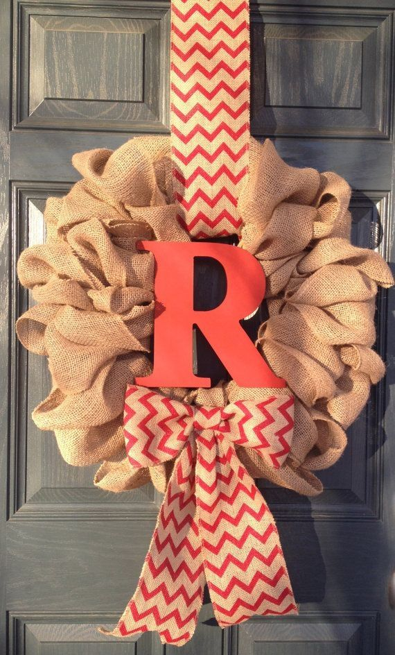 Monogram Spring Burlap Wreath, Year Round Wreath, Red Chevron Bow and Hanger with Custom Wood Initial by clbeck2013